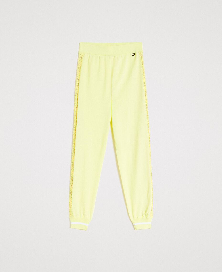 "Jogging trousers with lace-effect panels ""Lemon Juice"" Yellow Woman 191LL36CC-0S"