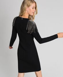 Sheath dress with rhinestone chains Black Woman 192TT3076-03