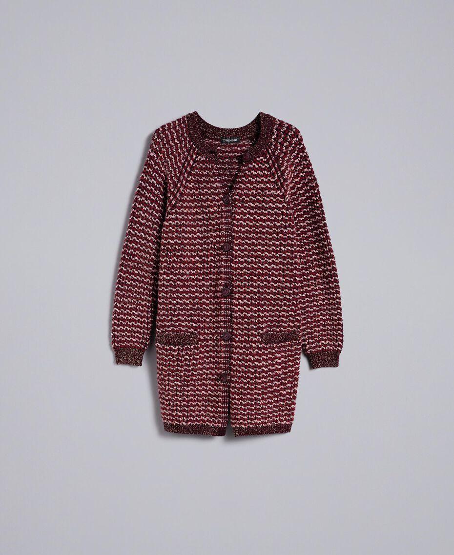 Maxi cardigan jacquard lurex Jacquard Bordeaux Lurex Donna PA835A-0S