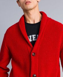 Cardigan in lana e alpaca Rosso Papavero Uomo UA83DB-05