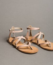 Leder-Sandalen mit Riemchen Nougat Beige Frau 191TCT09U-01