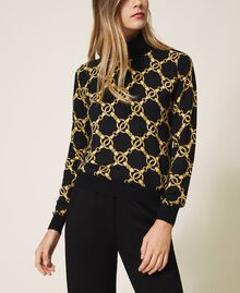 Turtleneck with chain print Ivory / Gold Large Chain Print Woman 202TT3340-02