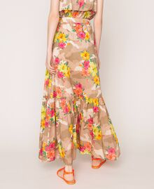 Camouflage and floral print skirt Multicolour Hibiscus Print Woman 201MT2384-04