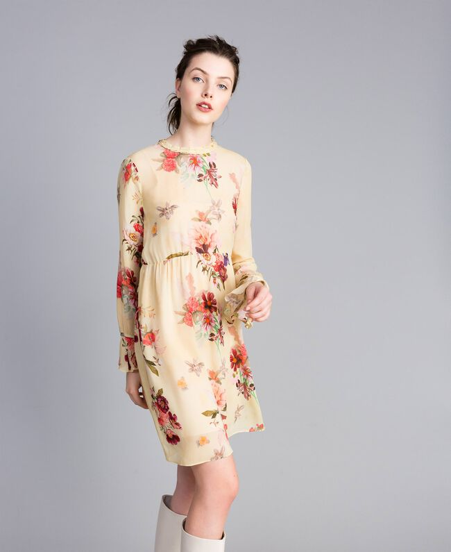"""Mini floral print georgette dress """"Tea Garden"""" Pink Print Woman PA8271-01"""