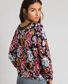 Dual use boxy jumper with rhinestones Black / Lily Animal Print Woman 192MP3230-03