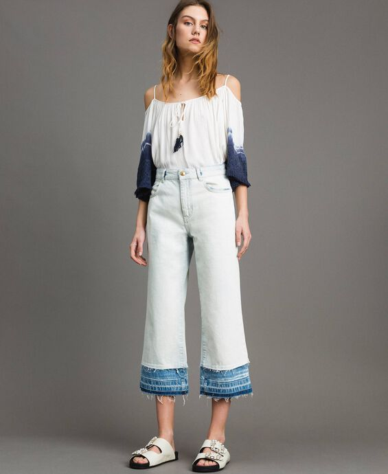Cotton denim wide leg jeans