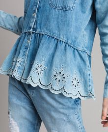 Denim shirt with broderie anglaise and flounce Denim Blue Woman 191MP2018-04