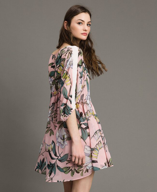 """Robe tunique en crêpe georgette avec imprimé floral Imprimé Exotique """"Rose Doux"""" Femme 191ST2222-02"""