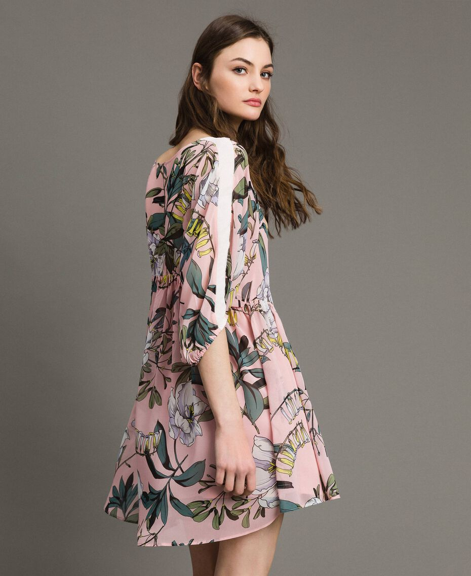 """Floral print georgette tunic dress """"Soft Pink"""" Exotic Print Woman 191ST2222-02"""