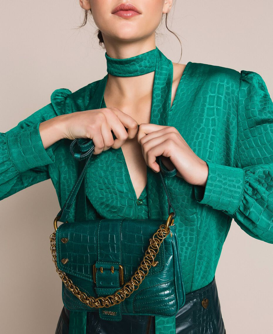 "Small Rebel shoulder bag with croc print ""Python"" Green Croc Print Woman 201TA7111-0S"