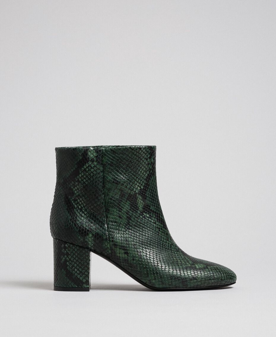 Leather ankle boots with animal print Dark Green Python Print Woman 192TCP12Q-02