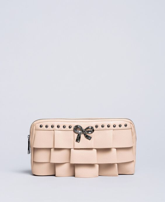 Faux leather clutch bag with ruches