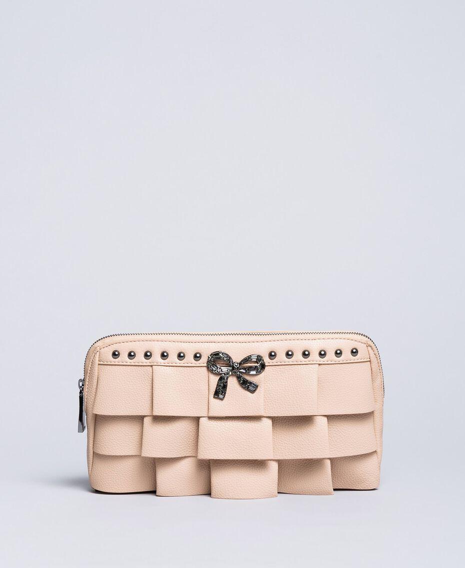 "Faux leather clutch bag with ruches ""Nude"" Beige Woman VA8PAR-01"