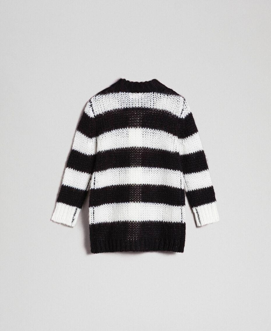 Cardigan en mohair à rayures bicolores Jacquard Rayures Noir / Blanc Cassé Enfant 192GB3130-0S