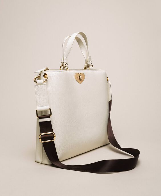 Large leather shopper with heart