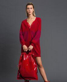 Borsa shopper grande ripiegabile in similpelle Rosso Melograno Donna 192TA7173-0S