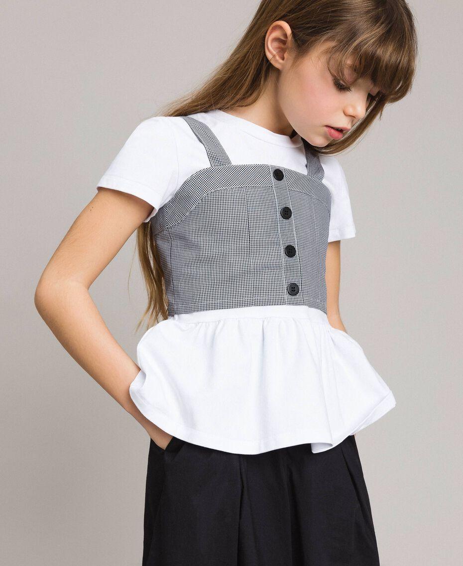 T-Shirt aus Jerseystoff mit Gingham-Top Zweifarbig Optisch Weiß / Gingham Kind 191GJ2730-0S