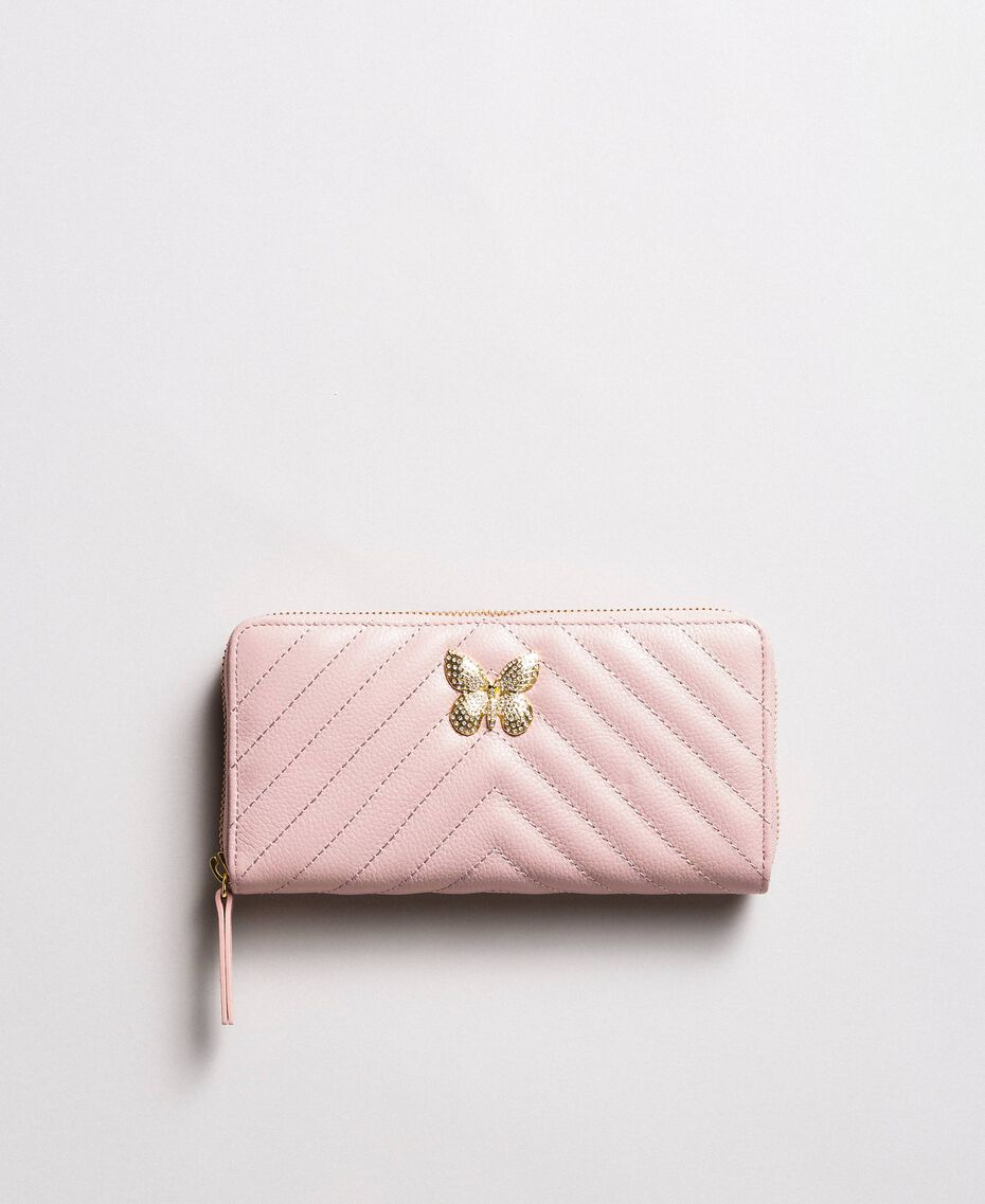 Matelassé leather wallet Pink Pearl Woman 191TA7198-01