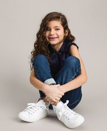 Nappa-Sneakers mit perforierten Details Weiß Kind 191GCJ172-0S