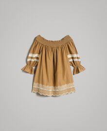 """Voile-Bluse mit Broderie-Anglaise-Stickerei Zweifarbig """"Savannah"""" Beige / Ecru Frau 191ST2111-0S"""