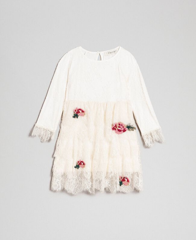 Robe en dentelle de Chantilly avec roses brodées Chantilly Enfant 192GB2670-01
