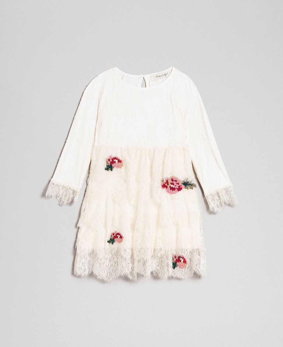 Chantilly lace dress with embroidered roses Pale Cream Child 192GB2670-01