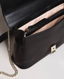 Faux leather shoulder bag with patch Black Woman 191MA7071-05