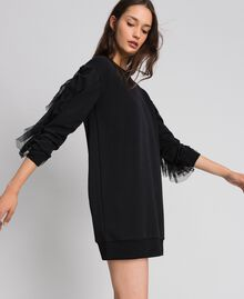 Plush dress with tulle flounce Black Woman 192LI2TCC-02
