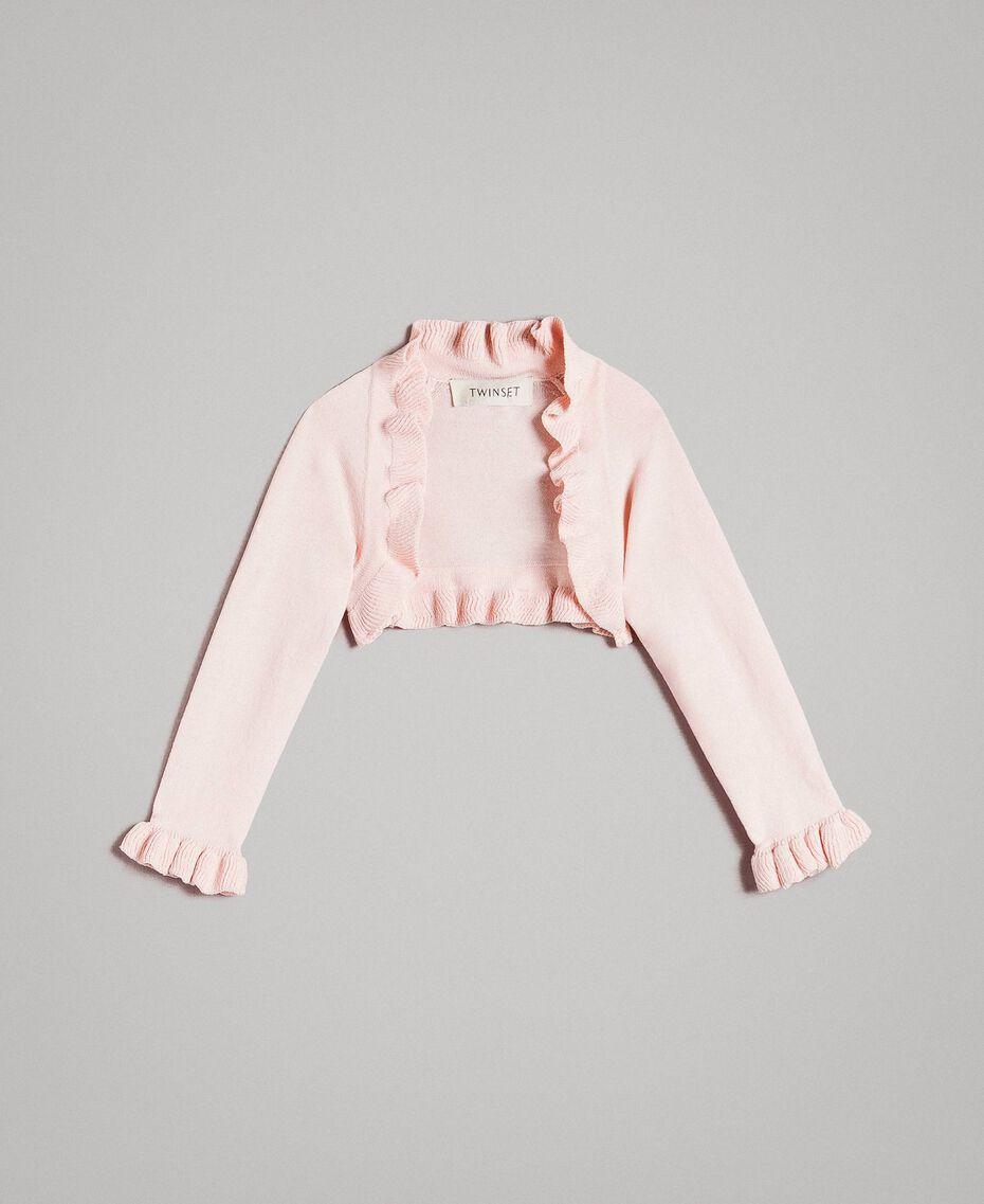 Viskose-Jacke mit Rüsche Blütenrosa Kind 191GB3Q92-01