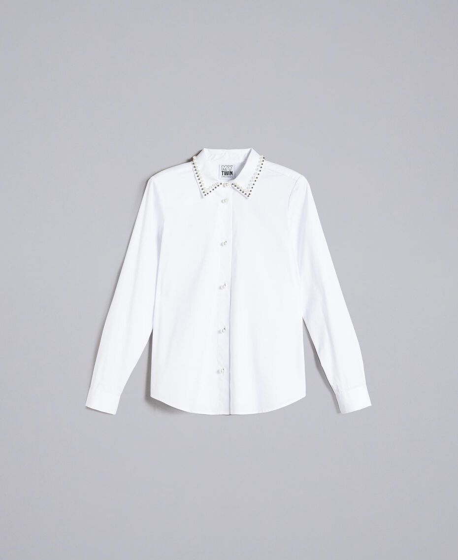 "Stretch poplin shirt ""Ice"" White Woman JA82JB-0S"
