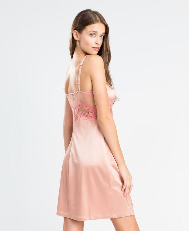 """Unterkleid mit zweifarbiger Spitze Zweifarbig Royal Pink / """"Amber Dust""""-Braun Frau IA8ABB-03"""