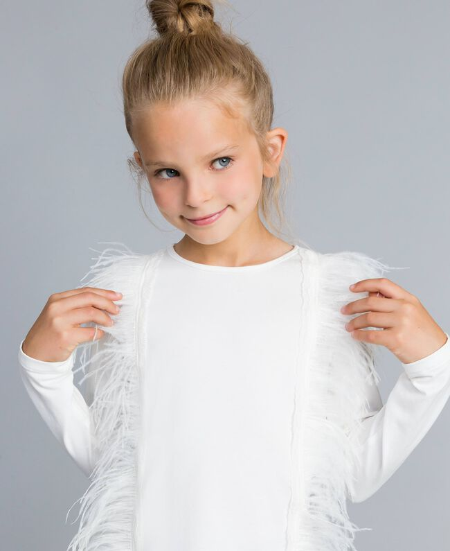 T-shirt en coton avec plumes Off White Enfant GA827B-04