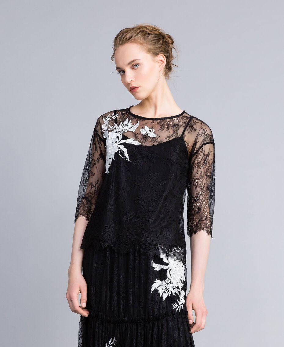 Valencienne lace blouse Black Woman PA824S-02