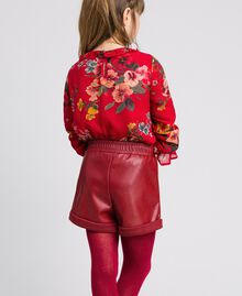 Shorts in similpelle Rosso Ruby Wine Bambina 192GJ2012-03