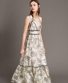 Robe longue en soie mélangée avec imprimé floral Imprimé Toile De Jouy Noir Femme 191TT2402-02