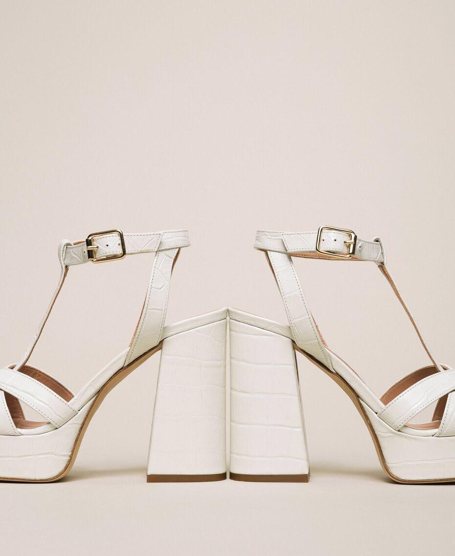 "Leather T-bar sandals ""Snow"" White Crocodile Print Woman 201TCP072-02"