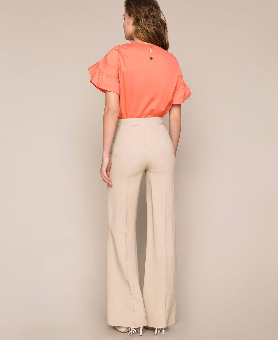 Linen blend trousers Nougat Beige Woman 201TT2216-03