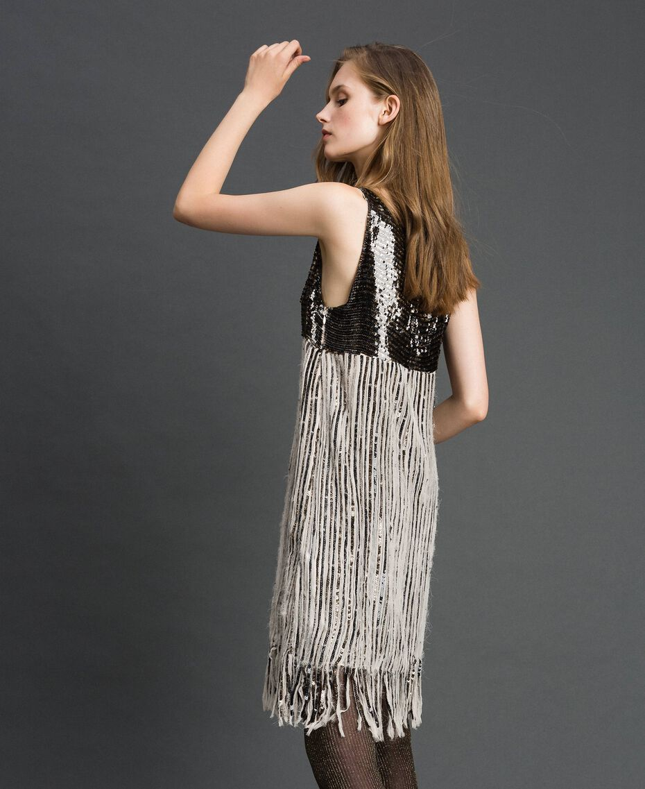 Georgette dress with sequins and fringes Dark Gold Sequin Embroidery Woman 192TT2482-02
