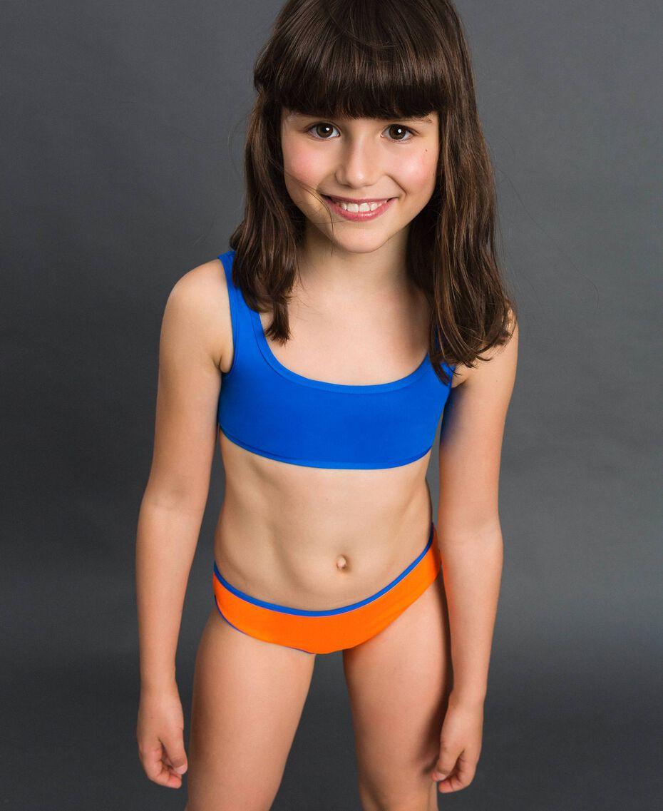 Maillot de bain bikini réversible Orange Fluo / Bleu Fluo Enfant 191TQM027-0S