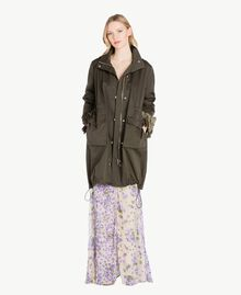 Ruffled parka Army Green Woman PS824Q-01