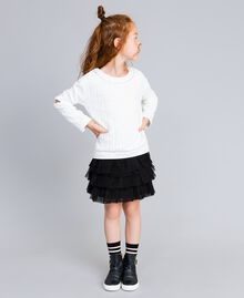 Stepp-Sweatshirt mit Strass Mattweiß Kind GA82NN-0S
