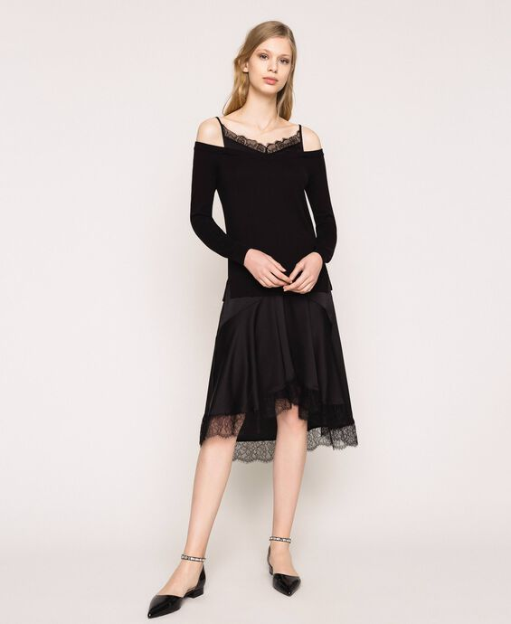 Knit dress with slip effect satin