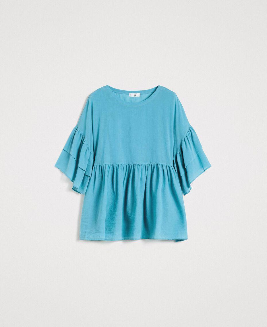 """Bluse mit weiten Ärmeln und Volants """"Daylight Blue"""" Blau Frau 191LM2HCC-0S"""