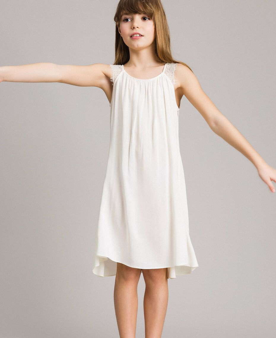 Long dress with lace Pale Cream Child 191GJ2433-02