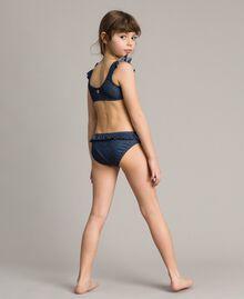 Bikini mit Rüschen und Strass-Schmetterling Dunkler Denim Kind 191GJM902-02
