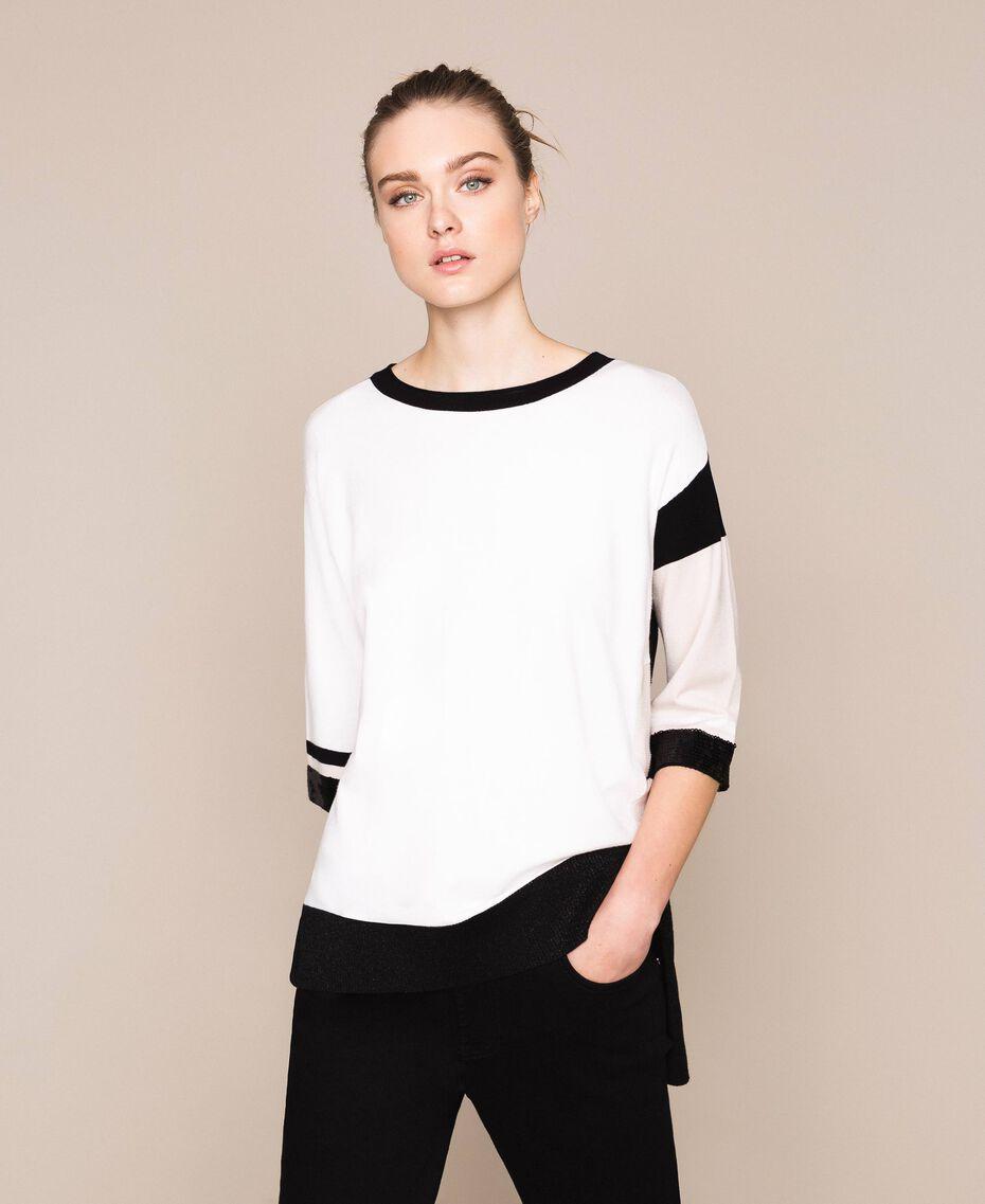 Maglia color block con paillettes Multicolor Bianco Ottico Donna 201LL3CSS-01