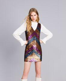 Kleid mit Alloverpailletten Paillettenstreifen mehrfarbig Frau TA82DE-02