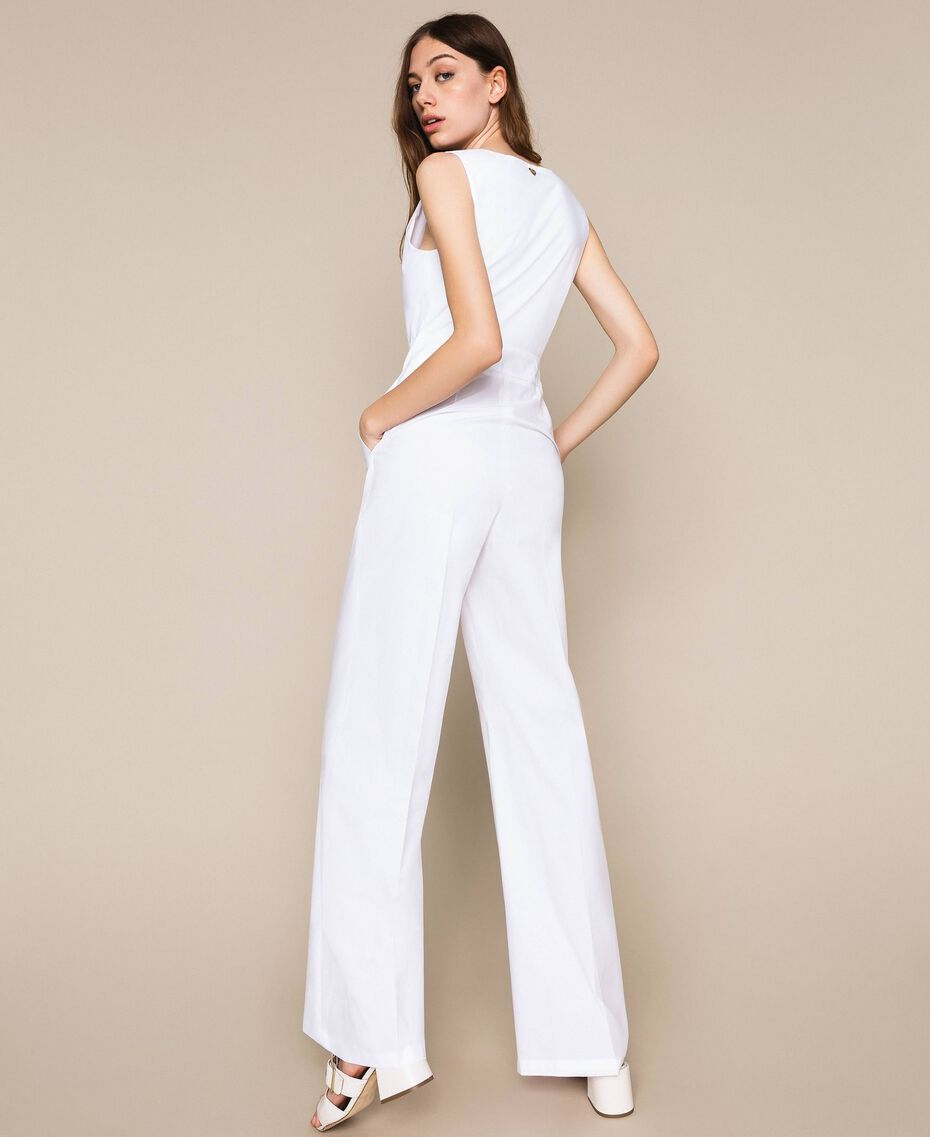 Poplin jumpsuit White Woman 201TT2038-03