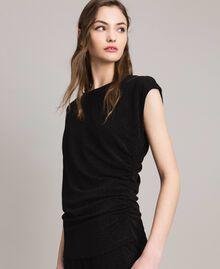 Top en lurex avec drapés et cordon coulissant Noir Femme 191MP2024-04