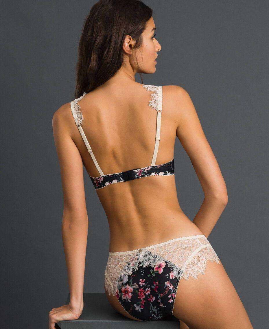 Floral briefs with lace Black Flower Print Woman 192LI6566-03